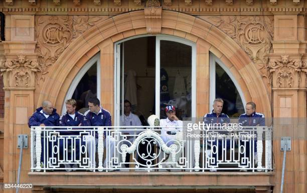 England's Mark Garaway Paul Collingwood Kevin Pietersen Michael Vaughan coach Peter Moores and Andy Flowers on the balcony during the First npower...