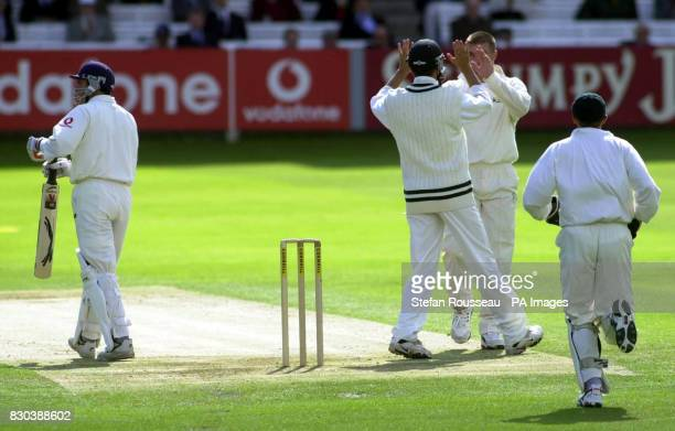 England's Mark Ramprakash left out LBW off the bowling of Zimbabwe's Heath Streak second from right at Lords London