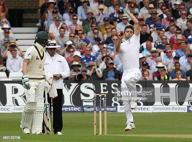 England's Mark Wood bowls on the first day of the fourth Ashes cricket test match between England and Australia at Trent Bridge in Nottingham England...