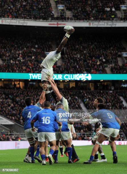 England's Maro Itoje in action during the 2017 Old Mutual Wealth Series Autumn International match between England and Samoa at Twickenham Stadium on...
