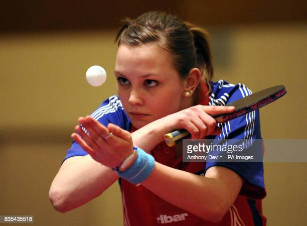 England's Mary Fuller in action during India's Table Tennis Tour at Dormers Wells Leisure Centre in Southall London