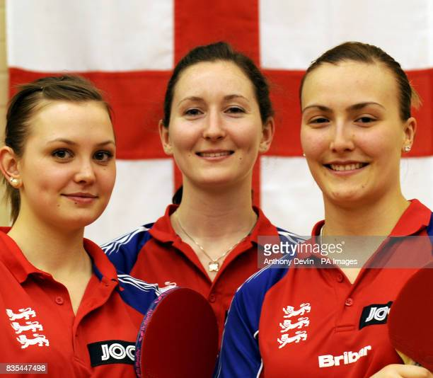 England's Mary Fuller Joanna Parker and Kelly Sibley during the India Table Tennis Tour Southall London