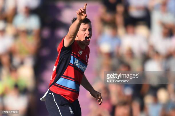 England's Mason Crane appeals during the T20 international cricket match between England and South Africa at The Ageas Bowl in Southampton on the...