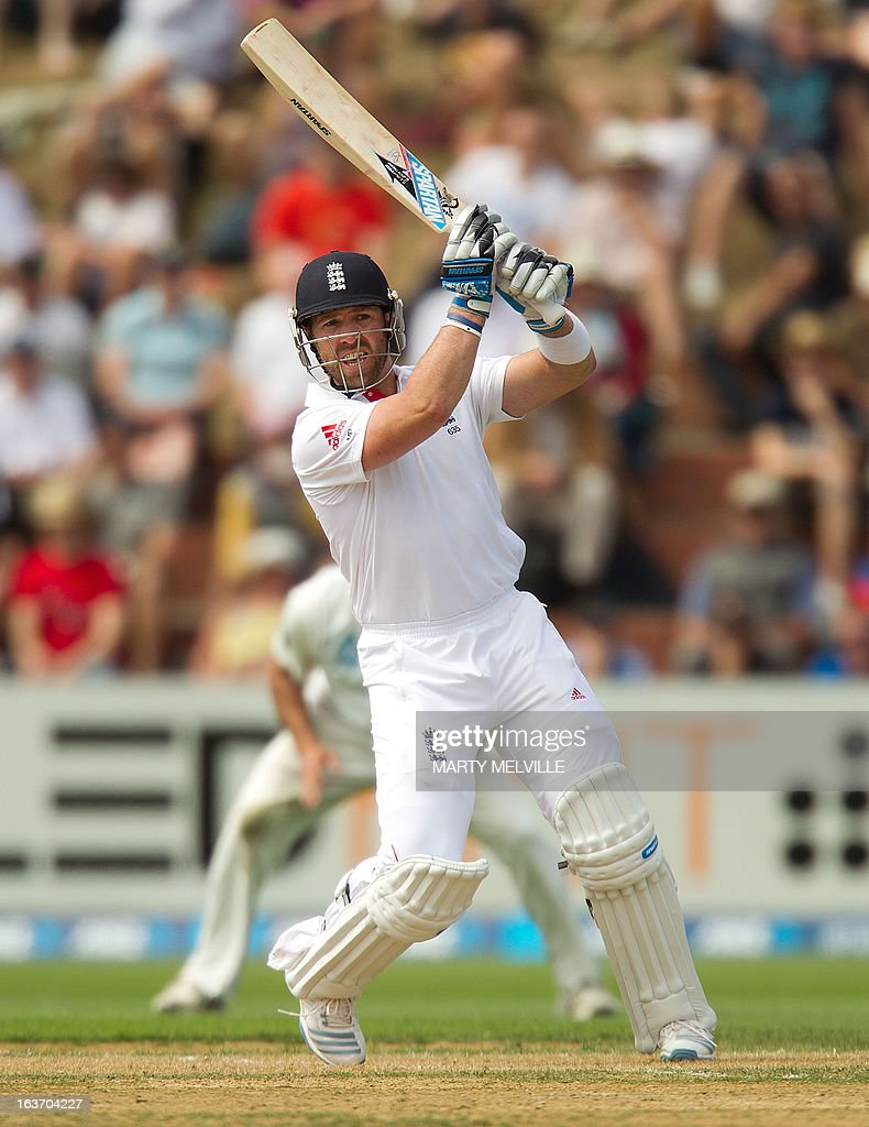 England's Matt Prior bats during day two of the 2nd international cricket Test match between New Zealand and England played at the Basin Reserve in Wellington on March 15, 2013. AFP PHOTO / Marty MELVILLE