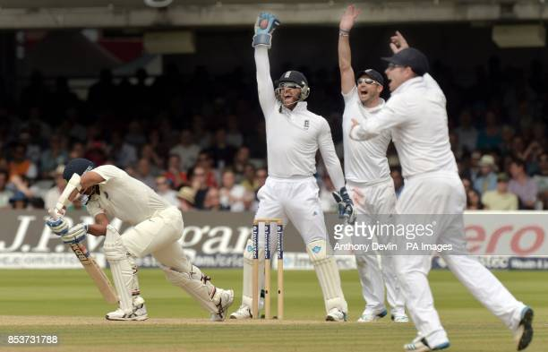England's Matt Prior celebrates taking the catch of India's Mohammed Shami for 0 during day four of the second test at Lord's Cricket Ground London