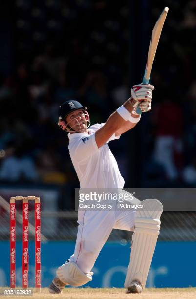 England's Matt Prior hits out during the fifth test at Queen's Park Oval Port of Spain Trinidad