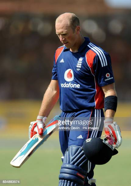 England's Matt Prior leaves the field after being caught behind by Virender Sehwag during The First One Day International at Madhavrao Scindia...