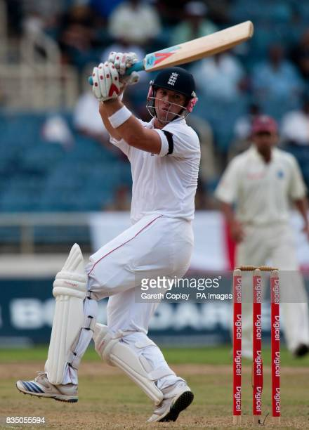 England's Matt Prior swings at a ball during the First Test at Sabina Park Kingston Jamaica