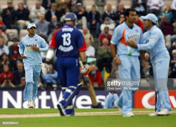 England's Matt Prior walks off after being caught by India's Rahul Dravid off the bowling of Zaheer Khan during the NatWest Series match at the Rose...