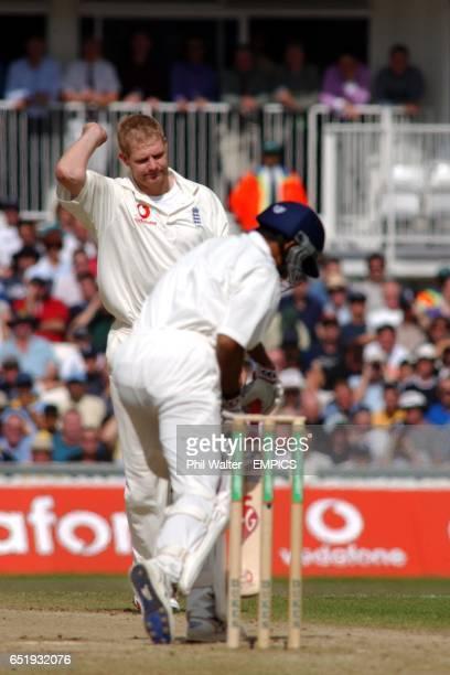England's Matthew Hoggard celebrates his wicket of India's Sanjay Bangar caught by Mark Butcher