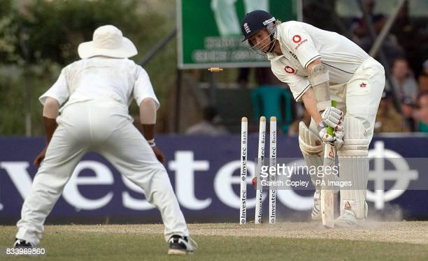 England's Matthew Hoggard is bowled by Sri Lanka's Lasith Malinga during the First Test at the Asgiriya International Stadium Kandy Sri Lanka