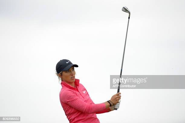 England's Mel Reid watches her shot from the 16th tee during her second round on day 2 of the 2017 Women's British Open Golf Championship at...