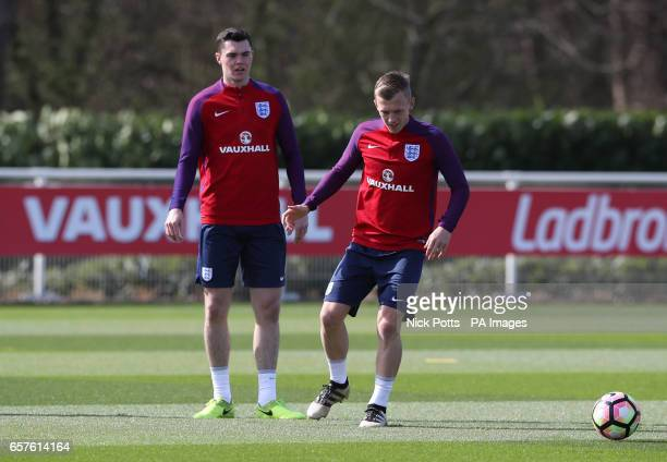England's Michael Keane and James WardProwse during the training session at Enfield Training Ground London