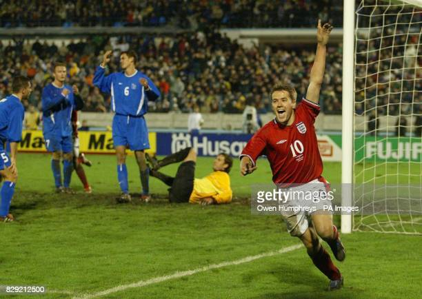 England's Michael Owen celebrates his second goal during their European Championship Qualifying Group 7 match at the Tehele Pole Stadium in...
