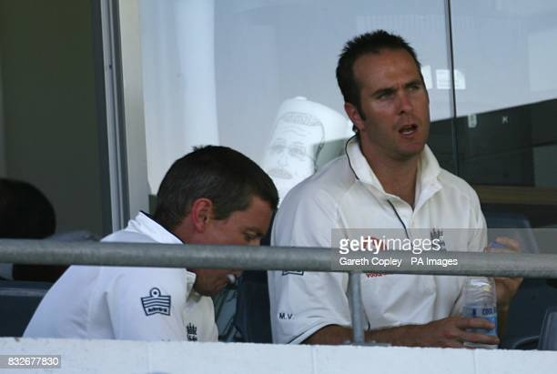 England's Michael Vaughan chats to Ashley Giles before he goes out to bat