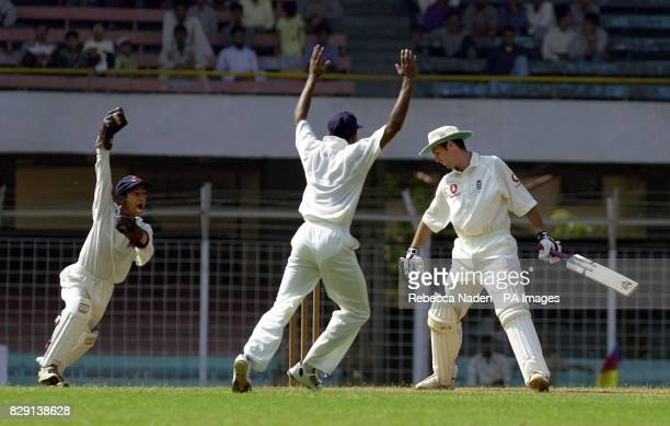 England's Michael Vaughan is dismissed caught behind by wicketkeeper Abhijit Shetye for two runs on the second day of play against a Mumbai Cricket...