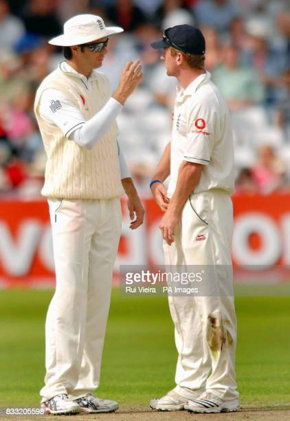 England's Michael Vaughan talks with Paul Collingwood during the Second npower Test match at Trent Bridge Nottingham