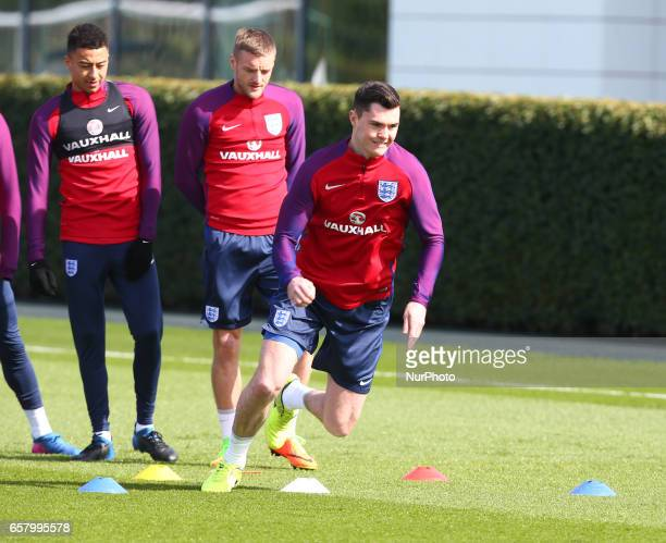 England's Micheal Keane during an England training session at Tottenham Hotspur Training Session on 25 March 2017 in Enfield England