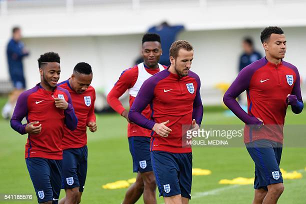 England's midfielder Raheem Sterling England's defender Nathaniel Clyne England's forward Daniel Sturridge England's forward Harry Kane and England's...