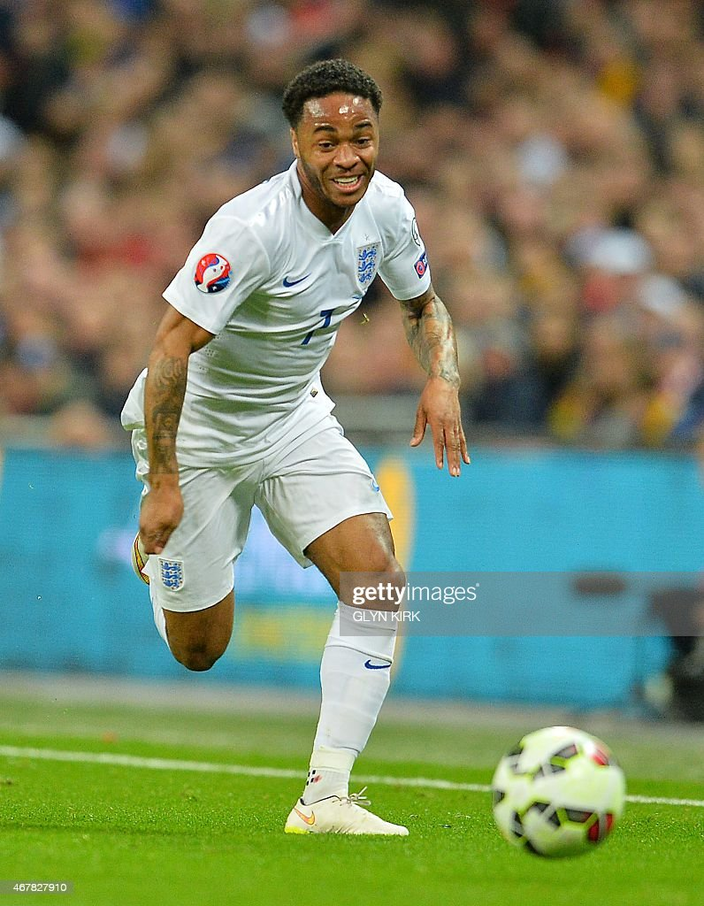 England's midfielder Raheem Sterling in action during a Euro 2016 Group E qualifying football match between England and Lithuania at Wembley Stadium...