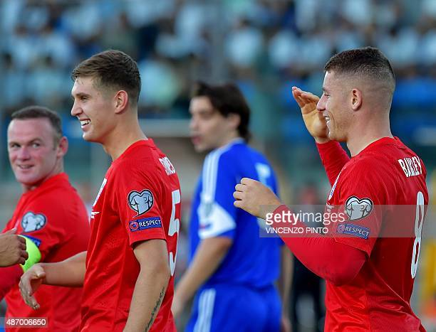 England's midfielder Ross Barkley celebrates after scoring during the EURO 2016 qualifying football match San Marino vs England at the San Marino...