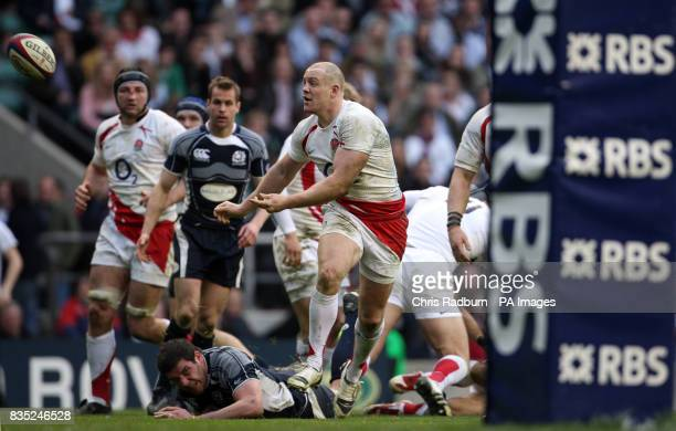 Englands Mike Tindall plays the ball against Scotland