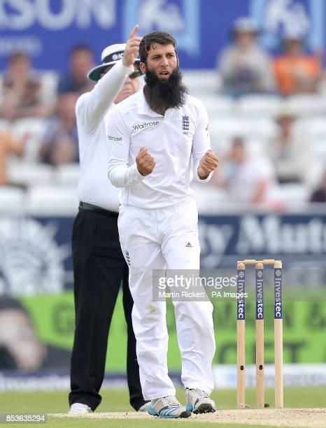 England's Moeen Ali celebrates taking the wicket of Sri Lanka's Kumar Sangakkara during day three of the second Investec Test match at Headingley...