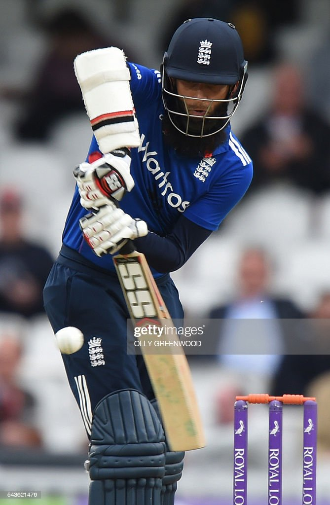 England's Moeen Ali plays a shot during play in the fourth One Day International (ODI) cricket match between England and Sri Lanka at The Oval cricket ground in London on June 29, 2016. England's victory target was revised to 308 off 42 overs due to the weather having seen the tourists show real guile and style in their innings. ECB