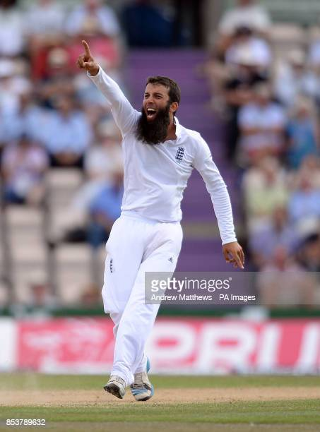 England's Moeen Ali unsuccessfully appeals for the wicket of India's Shikhar Dhawan during day four of the Third Investec Test match at the Ageas...
