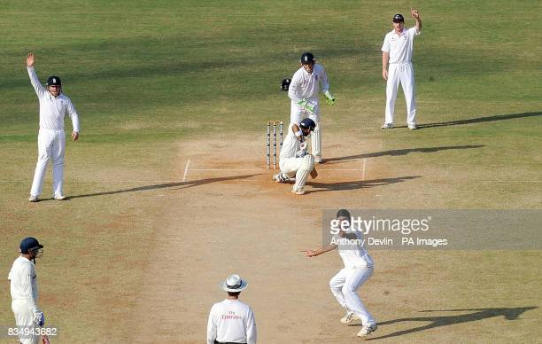 England's Monty Panesar appeals for the wicket of India's Gautam Gambhir during the fourth day of the First Test Match at the M A Chidambaram Stadium...