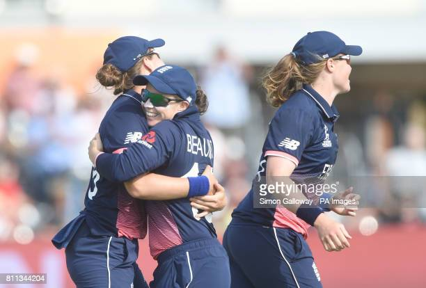 England's Nat Sciver celebrates taking the wicket of Australia's Ellyse Perry during the ICC Women's World Cup match at the County Ground Bristol
