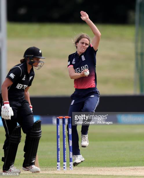 England's Natalie Sciver bowls during the 2017 ICC Women's World Cup warmup match at the 3aaa County Ground Derby