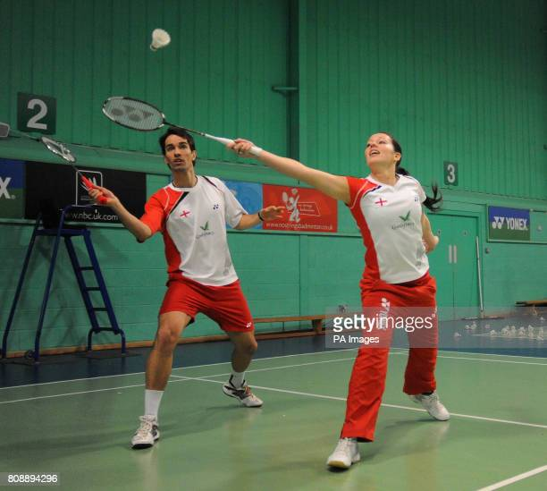 England's Nathan Robertson and Jenny Wallwork practice during a photocall at the National Badminton Centre Milton Keynes