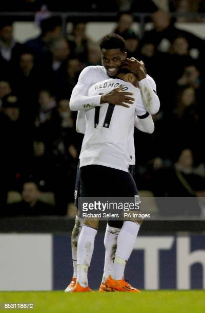 England's Nathanial Chalobah and Nathan Redmond celebrate England's opening goal during the 2015 UEFA European U21 Championship Qualifying Group One...