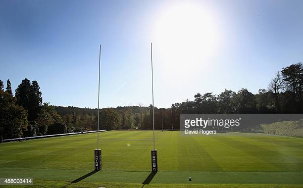 England's new gym complex and Dasso pitch during the England training session held at Pennyhill Park on October 28 2014 in Bagshot England