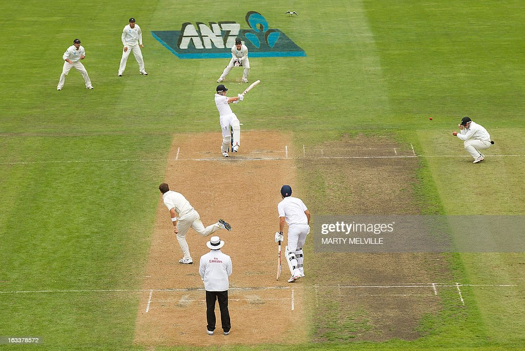 England's Nick Compton (C) bats during day four of the first international cricket Test match between New Zealand and England played at the University Oval park in Dunedin on March 9, 2013. AFP PHOTO / Marty MELVILLE