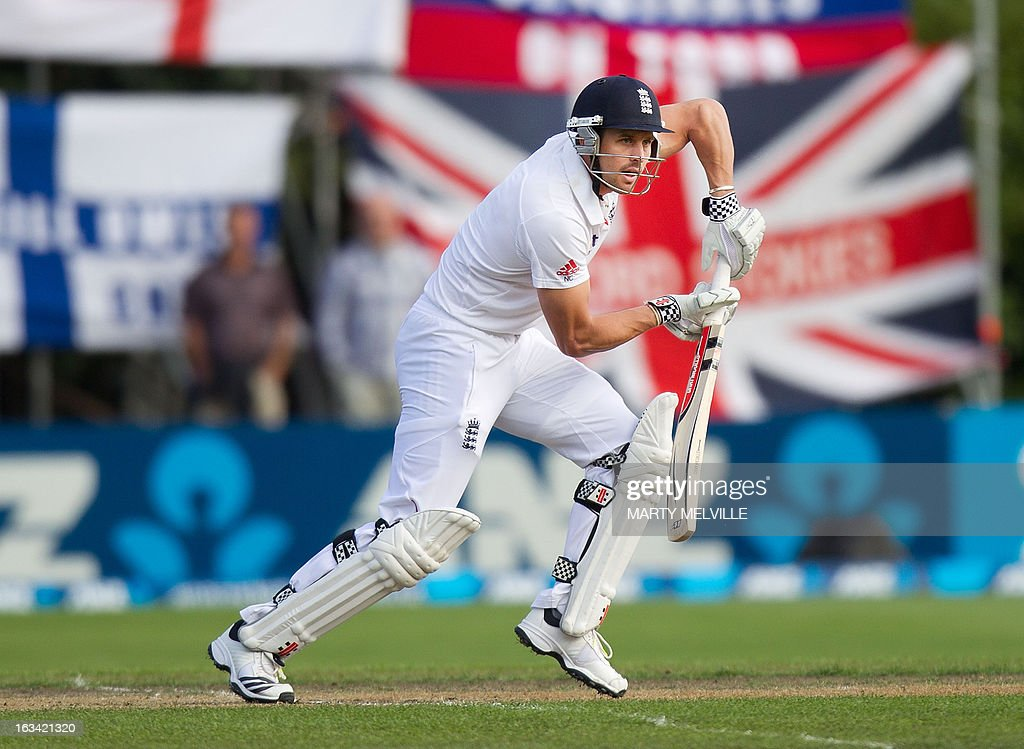 England's Nick Compton bats during day four of the first international cricket test match between New Zealand and England played at the University Oval park in Dunedin on March 9, 2013. AFP PHOTO / Marty MELVILLE