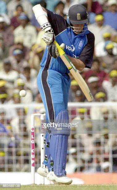 England's Nick Night plays a ball for four runs during their third oneday match against India at the MA Chidambaram stadium in Madras 25 January 2002...