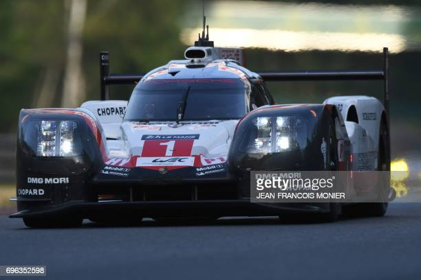 England's Nick Tandy drives his Porsche 919 Hybrid N°1 during the second qualifying practice session of the Le Mans 24 hours endurance race on June...