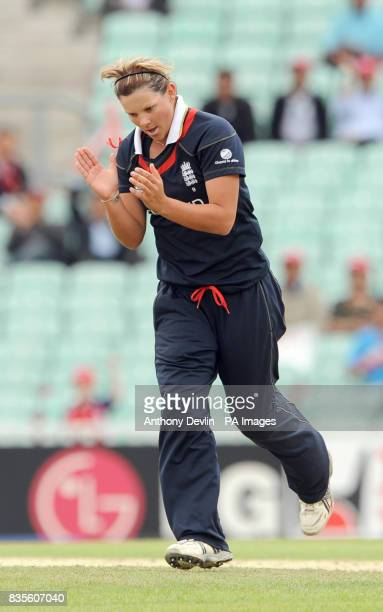 England's Nicky Shaw celebrates during the ICC Women's World Twenty20 Semi Final at The Oval London