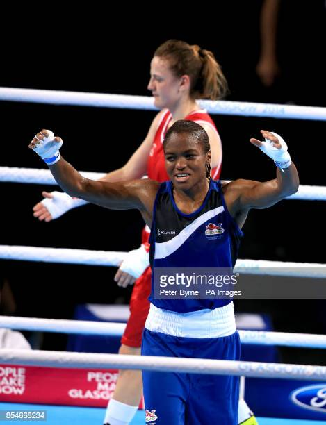England's Nicola Adams celebrates victory over Northern Ireland's Michaela Walsh in the Women's Fly Final Bout at the SSE Hydro during the 2014...