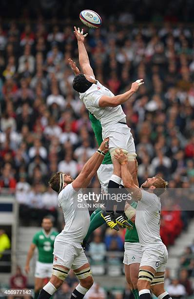 England's number 8 Ben Morgan jumps for the ball in the lineout during the international rugby union friendly match between England and Ireland ahead...