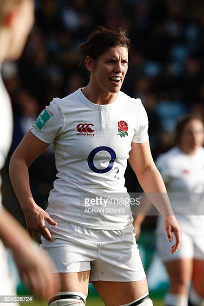 England's number 8 Sarah Hunter is pictured during the Old Mutual Wealth Series international women's rugby union match between England Women and New...