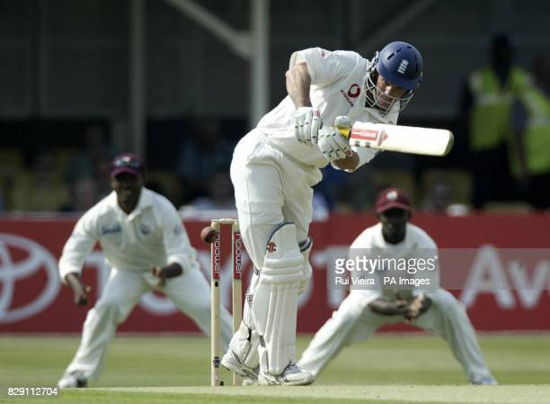 England's opening batsman Andrew Strauss drives West Indies bowler Pedro Collins during the first day of the second npower Test match between England...