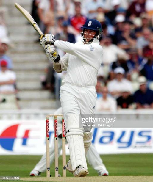 England's opening batsman Marcus Trescothick hits a six off West Indies' Pedro Collins bowling during the first day of the second npower Test match...
