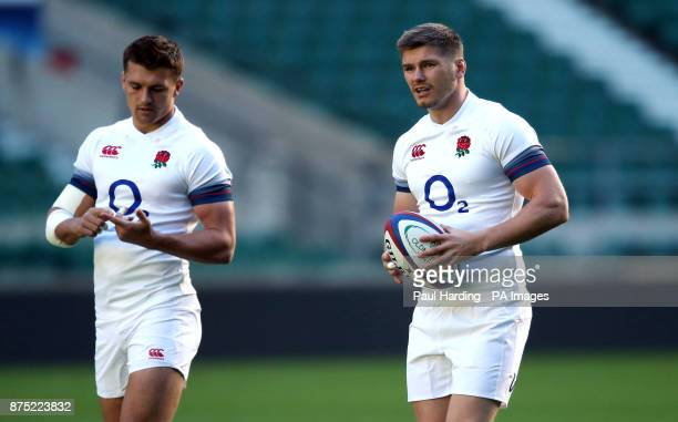 England's Owen Farrell and Henry Slade during a training session at Twickenham Stadium London