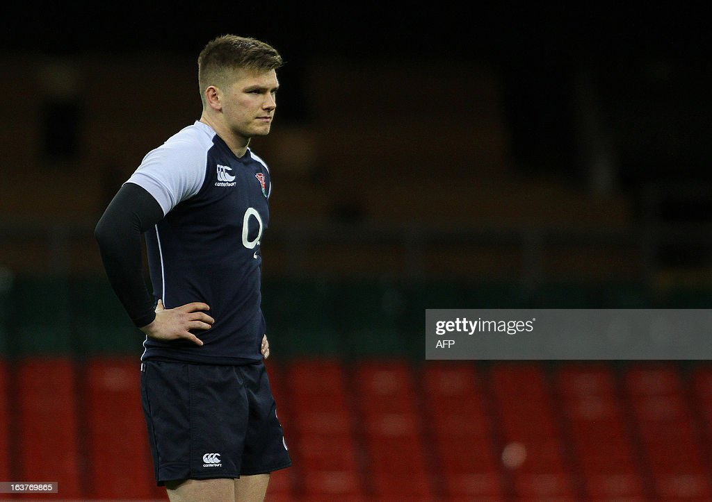England's Owen Farrell attends a training session at the Millennium Stadium in Cardiff on March 15, 2013 on the eve of their final 6 Nations international rugby union match against Wales. AFP PHOTO / GEOFF CADDICK