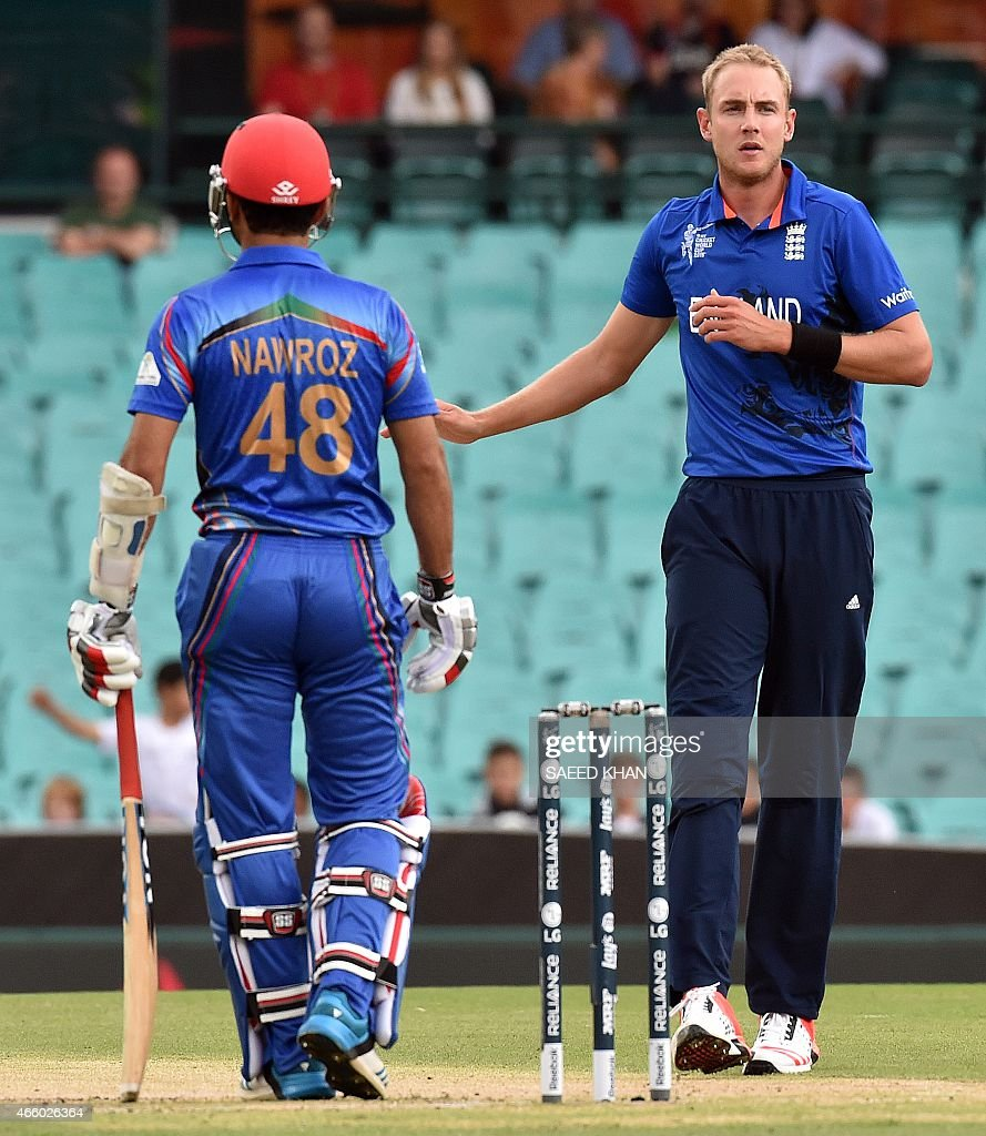 England's paceman <a gi-track='captionPersonalityLinkClicked' href=/galleries/search?phrase=Stuart+Broad&family=editorial&specificpeople=574360 ng-click='$event.stopPropagation()'>Stuart Broad</a> (R) reacts as he bowls to Afghanistan's batsman <a gi-track='captionPersonalityLinkClicked' href=/galleries/search?phrase=Nawroz+Mangal&family=editorial&specificpeople=5794122 ng-click='$event.stopPropagation()'>Nawroz Mangal</a> during the 2015 Cricket World Cup Pool A match between England and Afghanistan at the Sydney Cricket Ground on March 13, 2015. AFP PHOTO/ Saeed KHAN