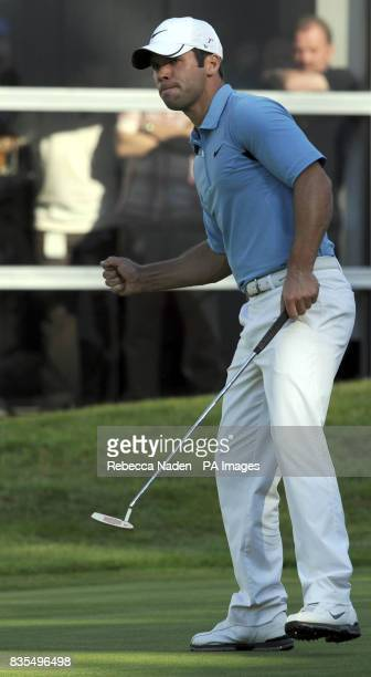 England's Paul Casey celebrates the winning putt on the 18th green during Round 4 of the BMW PGA Championship at Wentworth Golf Club Surrey