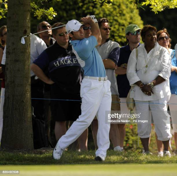 England's Paul Casey plays his second shot to the 1st green during Round 4 of the BMW PGA Championship at Wentworth Golf Club Surrey